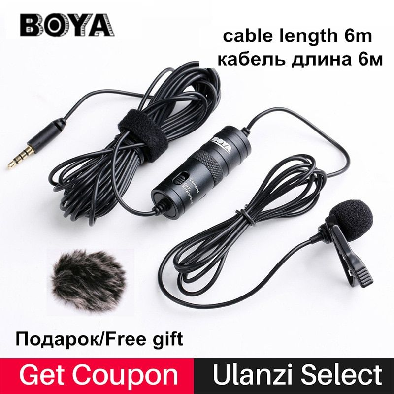 Boya BY-M1 Lavalier Microphone 6m Omnidirectional Condenser Recording Video Mic for iPhone X <font><b>Canon</b></font> Nikon DSLR Zoom h1 H1N Handy
