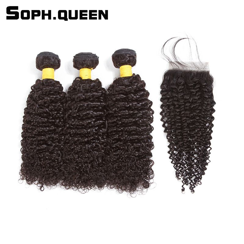Sophqueen Brazilian Remy-Hair Curly Bundles With Closure 4*4 Natural Color For Hair Salon Human Hair Bundles With Closure