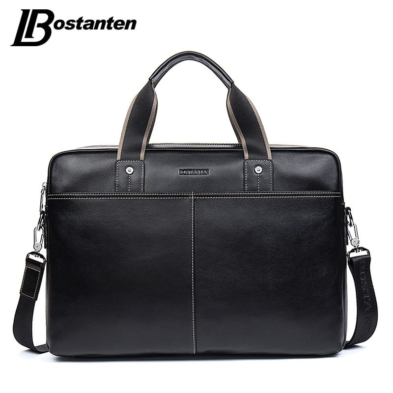 BOSTANTEN Genuine Leather Bag Casual Men Handbags Cowhide Men Crossbody Bag Men's Travel Bags Large Laptop Briefcase Bag for Man