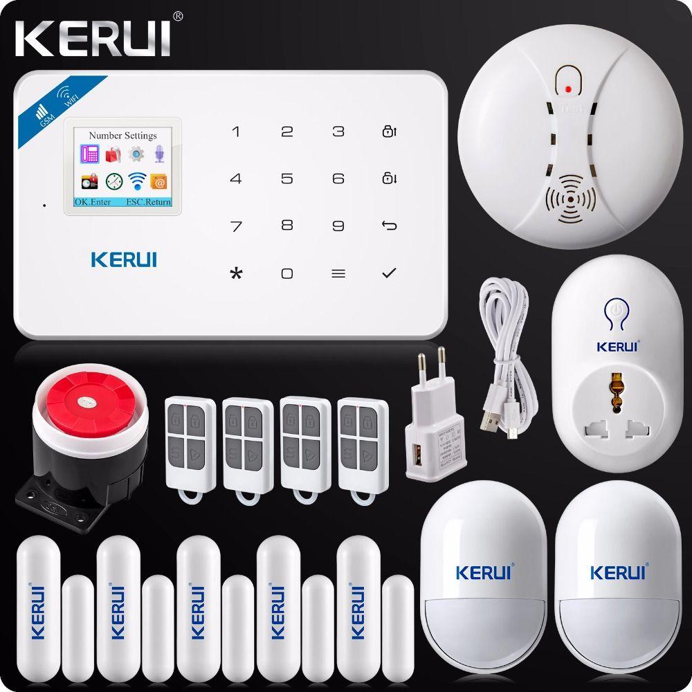 2018 KERUI W18 Wireless WIFI GSM Burglar Security Home Alarm System Android IOS App+Wireless Smoke Detector Wifi Smart Socket