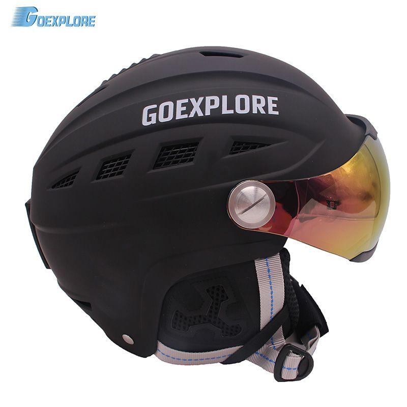 Goexplore Ski Helm Männlich Weiblich Halb-abgedeckt Integral ABS Außen Sport helemt mit Visier Schnee Snowboard Skateboard Helm