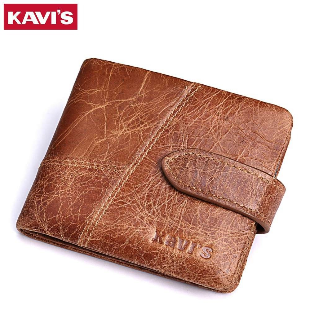 KAVIS New 100% Genuine Leather Men Wallets Man Famous Small Short portomonee with Coin Zipper Mini Male Purses Card Holder Walet
