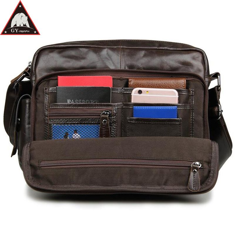 Anaph Genuine Leather Men Shoulder Bag Casual Messenger Bags Crossbody For Ipad Coffee Cowhide Small Flaps Cell Phone Attached