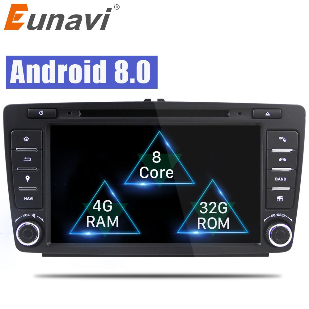 Eunavi 1024*600 Car DVD Player For Skoda Octavia 2014 2015 A7 Octa Core Android 8.0 GPS Navigation Radio Multimedia Support DAB+