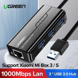 Ugreen USB Ethernet USB 3,0 2,0 до RJ45 концентратор для Xiaomi Mi коробка 3/S компьютерной приставки к телевизору Ethernet адаптер Сетевая карта USB LAN