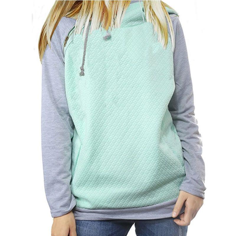 2018 nouvelle mode Hoodies pour femmes Zipper décoration à manches longues décontracté printemps automne pulls femme Hoodies
