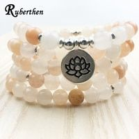 Ruberthen New Design Women`s Mala Beads Bracelet High Quality Pink Aventurine Yoga Bracelet or Necklace Trendy Lotus Jewelry