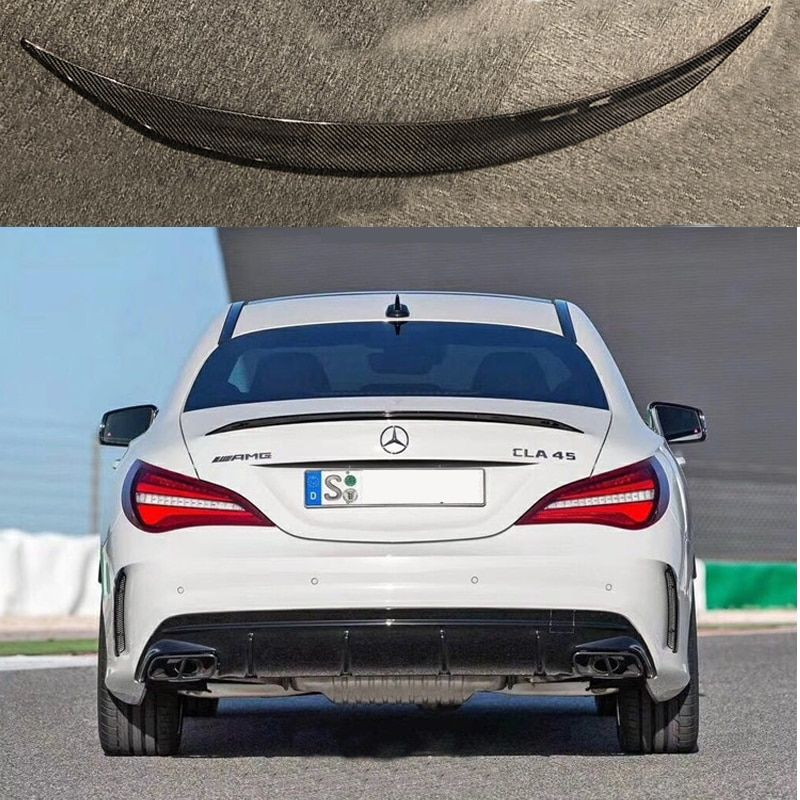For Mercedes-Benz CLA W117 CLA180 CLA200 CLA250 CLA260 Carbon Fiber Rear Trunk Wing Spoiler CLA45 AMG Style 2014 - UP
