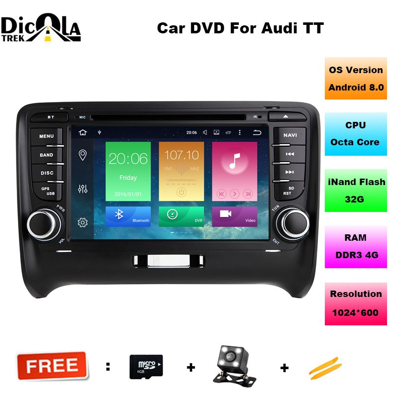 FOR AUDI TT 2006-2014 Android 8.0 Car DVD player Octa-Core(8Core) 4G RAM 1080P 32GBROM WIFI gps car multimedia auto stereo