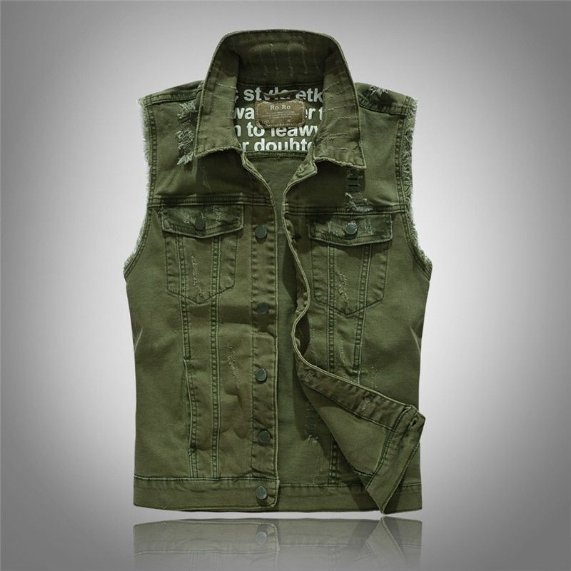 2017 neue Marke Herrenbekleidung Casual Feste Denim Weste Button armee Grün Denim Männer Weste Mode Gewaschen Plus Große Größe 3XL