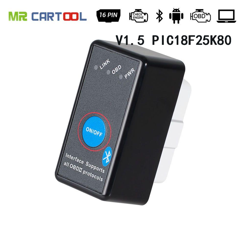 OBD2 ELM327 V1.5 sur PIC18F25K80 Super Bluetooth avec lecteur de défaut de voiture CD OBD ii lecteur de Code automatique outils de numérisation commutateur ELM 327 eml