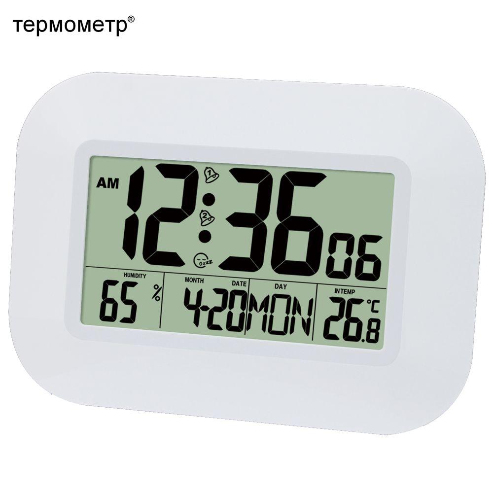 Grand nombre LCD numérique horloge murale Table alarme bureau horloge avec température thermomètre humidité hygromètre Snooze calendrier