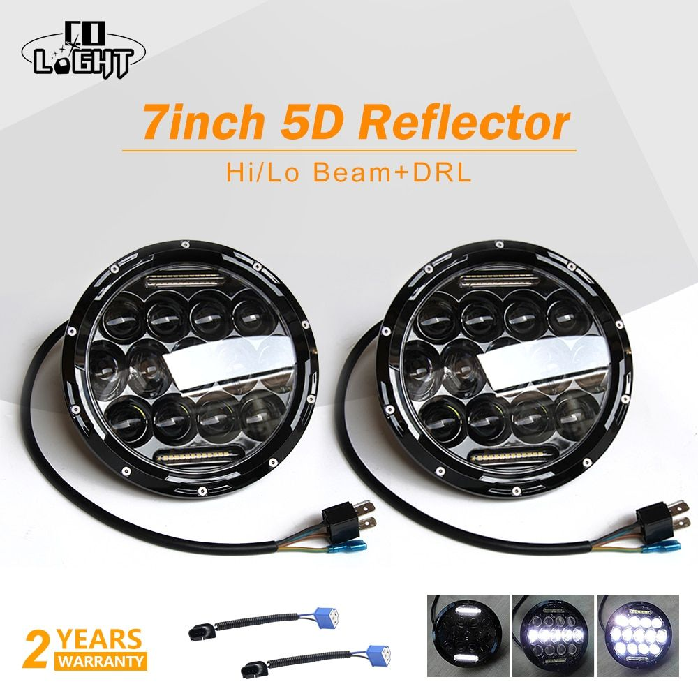 CO LIGHT 1 Pair Running Lights 75W Car Led H4 7inch Car Accessories 35W Angel Eyes H4 Led Headlight For Lada Niva 4X4 Uaz Hunter