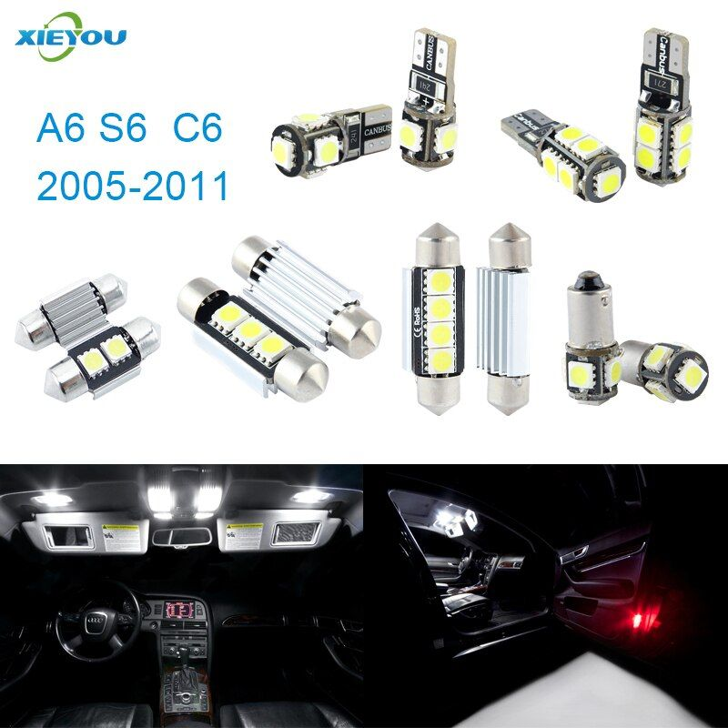 Xieyou 14 шт. LED Canbus Подсветка салона комплект Вышивка Крестом Пакет для Audi A6 S6 C6 (2005-2011)