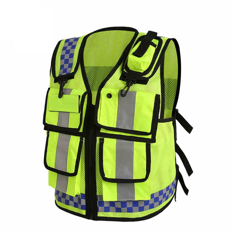 Motorcycle Reflective Vest Multifunctional Jackets Lattice Screen Cloth Safety Traffic Police Zipper