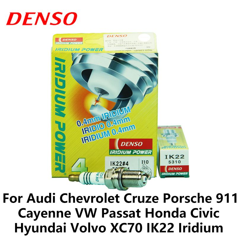 4pieces/set DENSO Car Spark Plug For Audi Chevrolet Cruze Porsche 911 Cayenne VW Passat Honda Civic Hyundai Volvo IK22 Iridium
