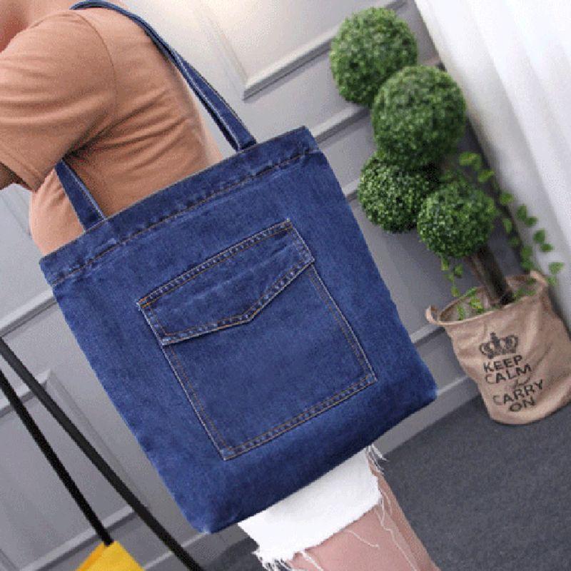 HLDAFA 2019 nouveau femmes sac grande capacité Cowboy sac à main de haute qualité sauvage décontracté toile Denim sac à bandoulière rabat sac à provisions