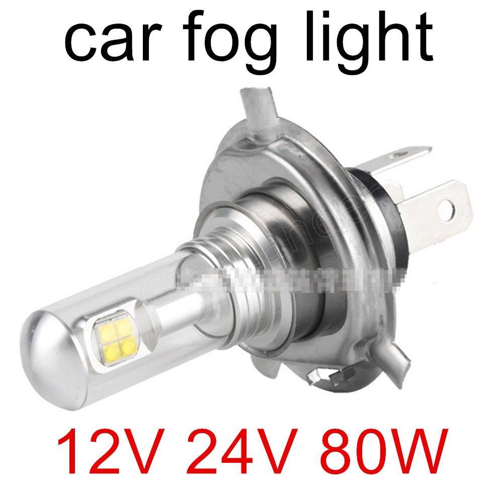 The new product one pair 2X80W White 12V 24V H4 H7 Socket LED Bulbs Auto Car Fog Lights Driving Daytime Running Lamp