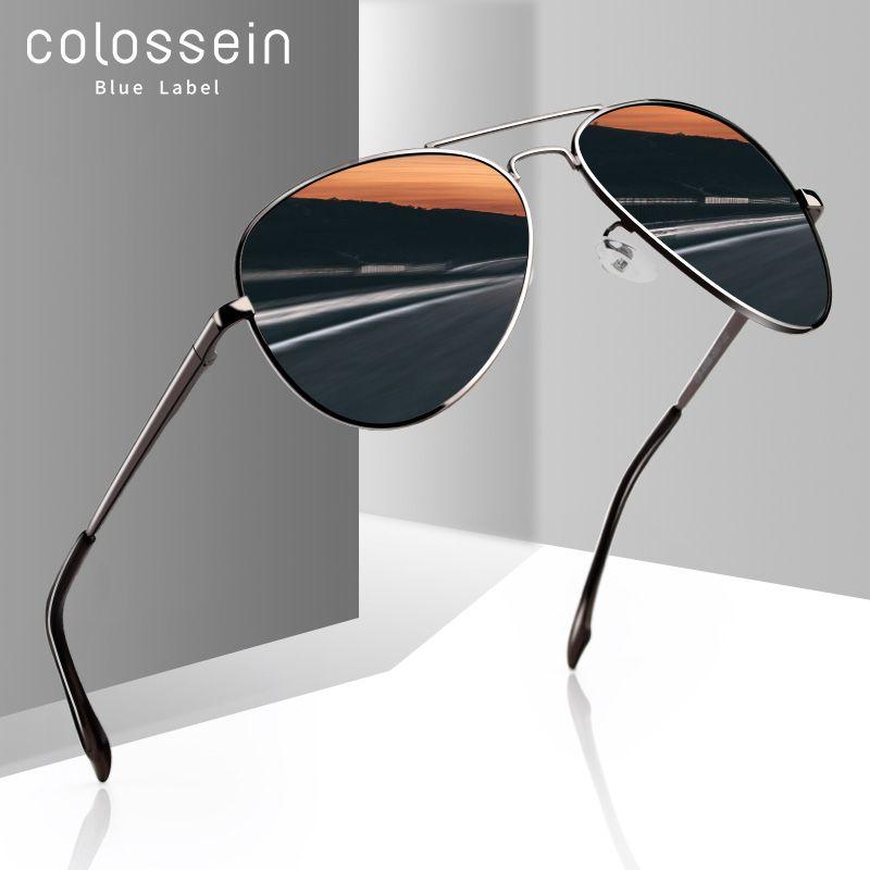 COLOSSEIN lunettes De soleil hommes polarisées marque classique métal lunettes pilotes pour femmes marron lentille mode Style UV400 Gafas De Sol