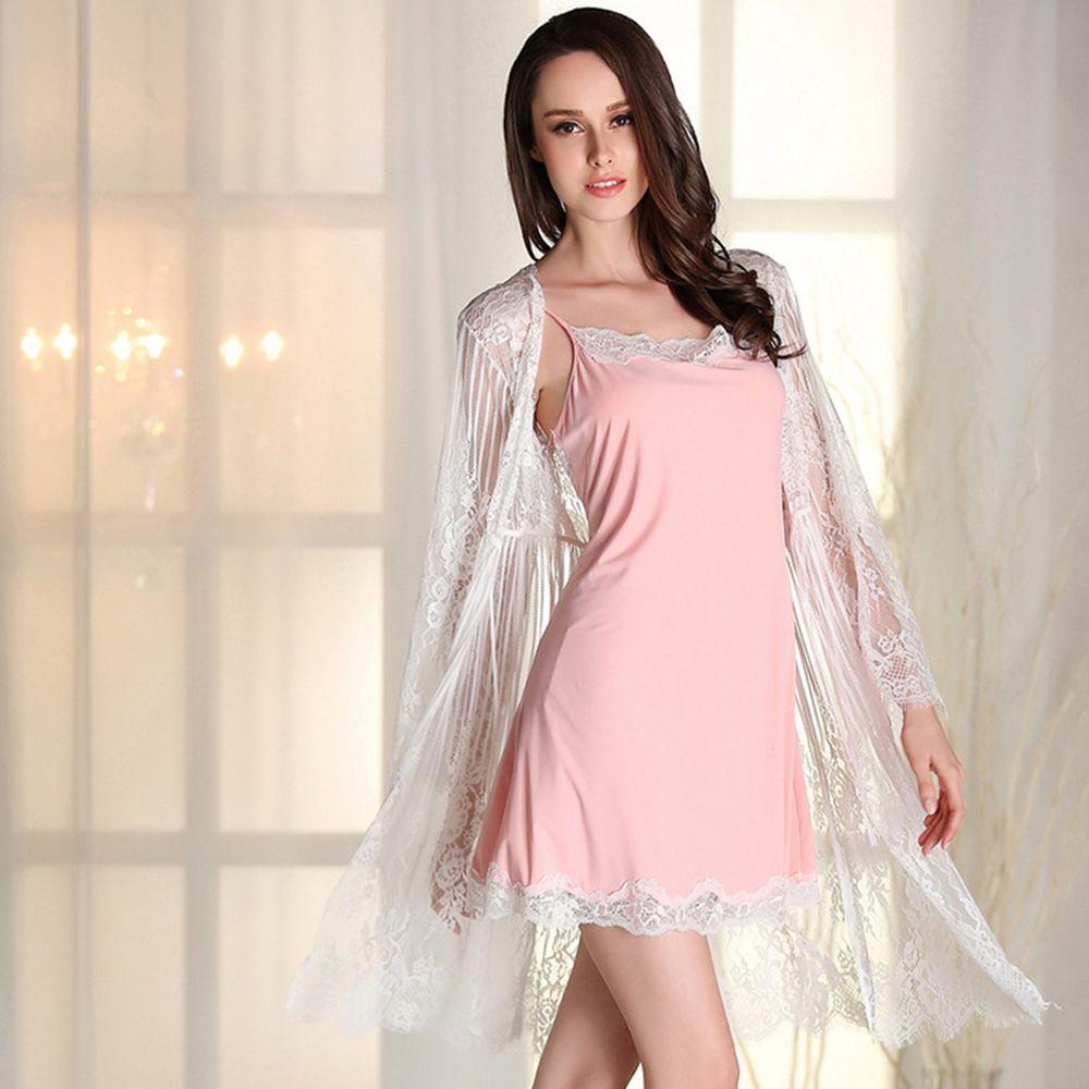 2018 Sexy pyjamas ensembles hite dentelle chemise de nuit Peignoir femmes maison Peignoir Robe de chambre Service vêtements de nuit Robe déshabillé