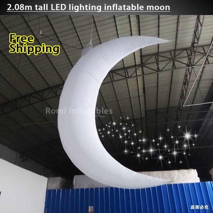 Farbwechsel led-beleuchtung Aufblasbare mond Aufblasbare Crescent moon bühne dekorative partei dekoration Inflatabl mond