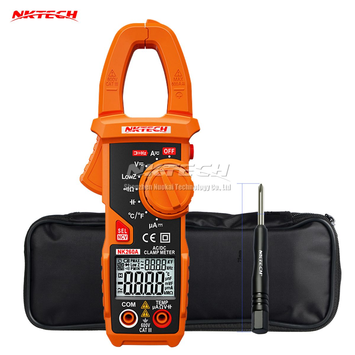 NKTECH NK260A Digital Clamp Meter Temperature AC DC Voltage Current Resistance Capacitance Frequency Auto Recognize V/Ohm/A Test