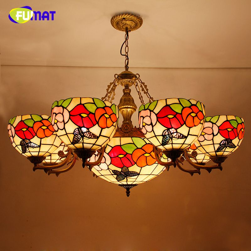 FUMAT Flower Shape Chandelier European Style Brief Stained Glass Light Retro Living Room Glass Art Lustre Chandeliers Lightings