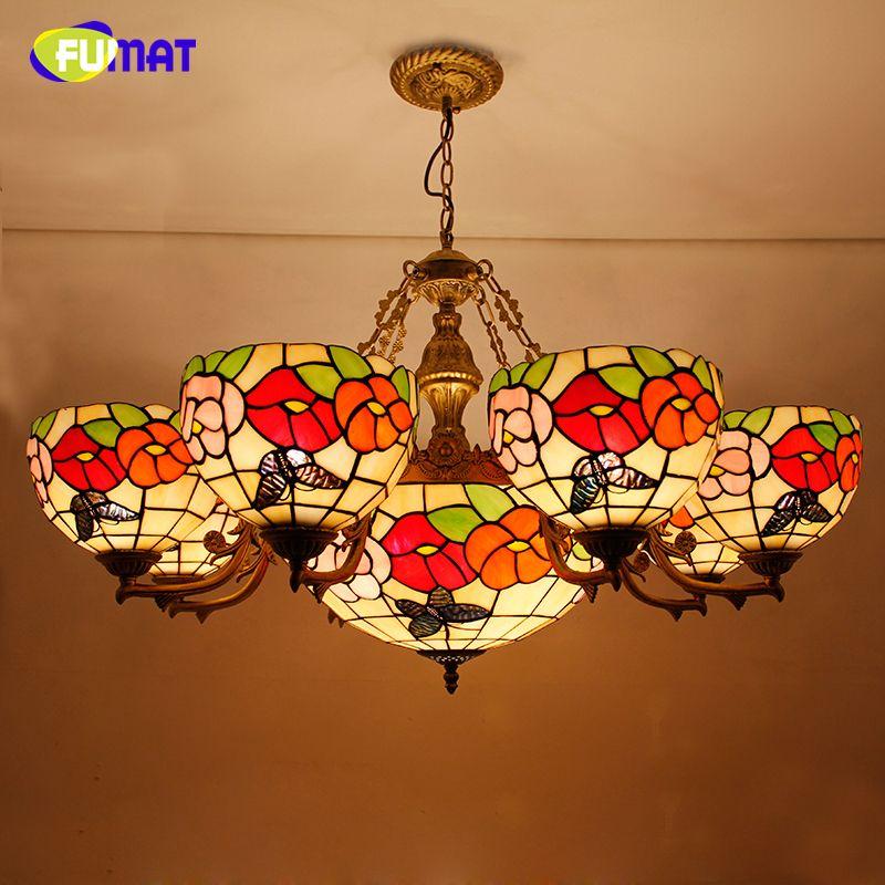 FUMAT Flower Shape Chandelier European Style Brief Stained Glass Light Retro Living Room Glass Art Lustre Chandeliers Lightings