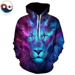 Anak Sulung dengan Jojoesart Galaxy Lion Pria Wanita Hoodies Hot Kualitas 3D Kaus Lucu Hewan Dicetak Pullover Berkerudung Streetwear