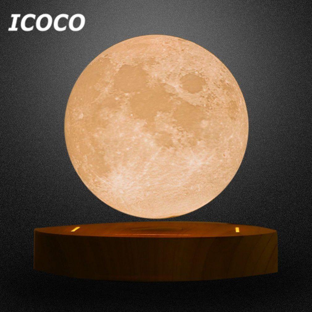 Icoco Лидер продаж 10 см 3D магнитной левитации плавающей Романтический лунный свет вращающийся Luna настольная лампа ночник Прямая доставка