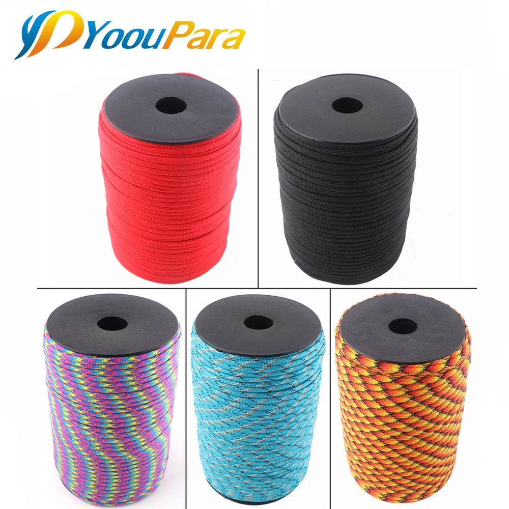 252 Colors 100m/Spool Paracord 550 7 Strand 4mm Rope Lanyard Paracord Outdoor Survival Emergency Parachute Cord