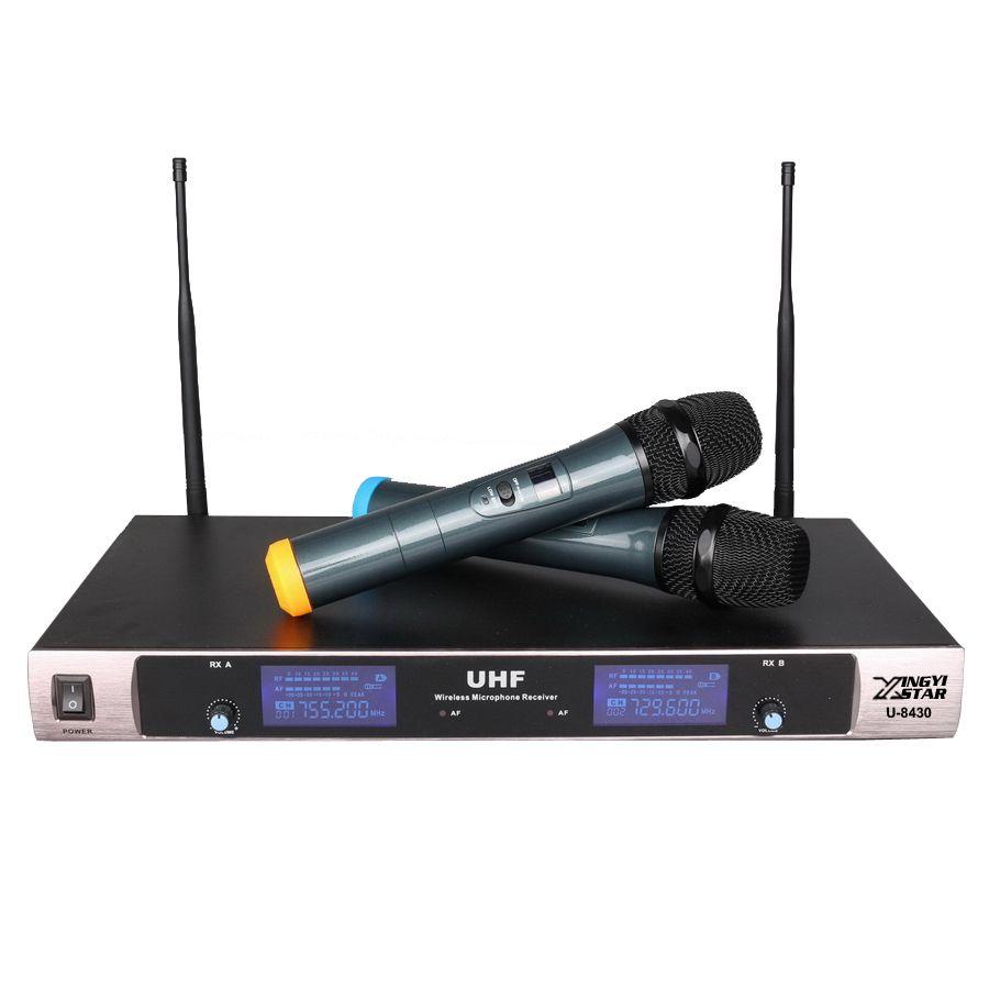 Livraison gratuite système de Microphone sans fil professionnel UHF double micro karaoké portable DJ KTV 2 canaux sans fil Mike avec récepteur