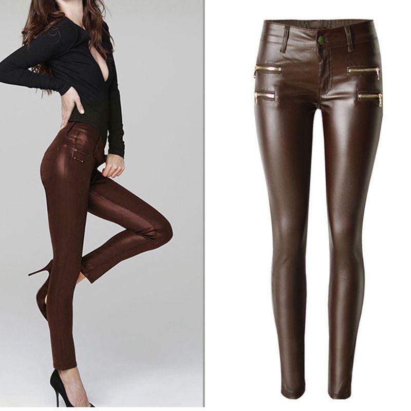 Nouveau Mode de Femmes Brun Bas-taille Élastique Crayon Pantalon Pantalon Sexy Serré Revêtement PU imitez Pantalon En Cuir avec plus la Taille