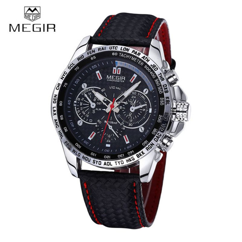 MEGIR Sports Brand Quartz Mens Watches Top Brand Luxury Quartz-watch Clock Leather Strap Male <font><b>Wristwatch</b></font> Relogio Masculino 2016