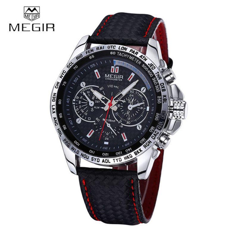 MEGIR <font><b>Sports</b></font> Brand Quartz Mens Watches Top Brand Luxury Quartz-watch Clock Leather Strap Male Wristwatch Relogio Masculino 2016