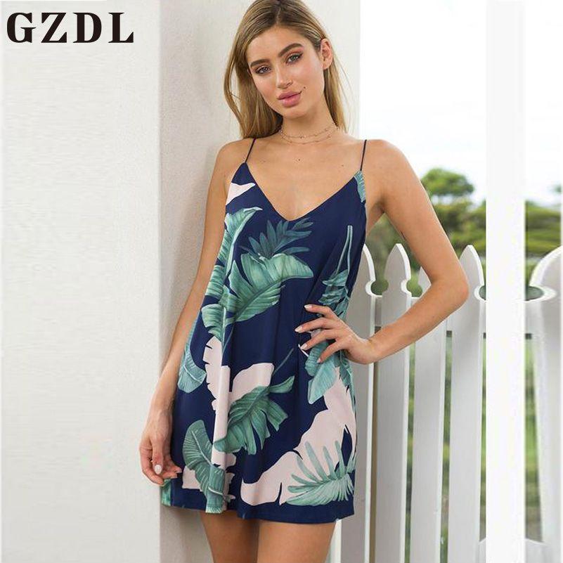 Gzdl Deep V Boho playa verano vestido mujeres casual backless sexy spaghetti correa de gasa suelta mini vestido de la vendimia CL3953