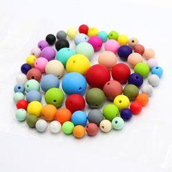 TYRY. HU 100 Pcs Perles Rondes Silicone BPA Livraison 9/12/15/19mm Bébé de Dentition mâché Perles Pour Collier Sucette Bracelet Chaîne de Décision