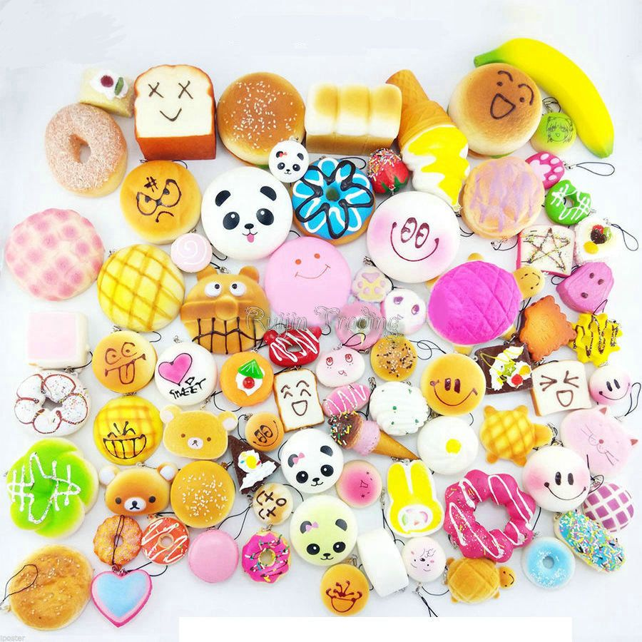 10pcs/Lot Mobile Phone Straps Squishy Cute Soft Jumbo Panda/Bread/Donut/Ice Cream Phone Keychain Decor Kawaii Kid Toys Present