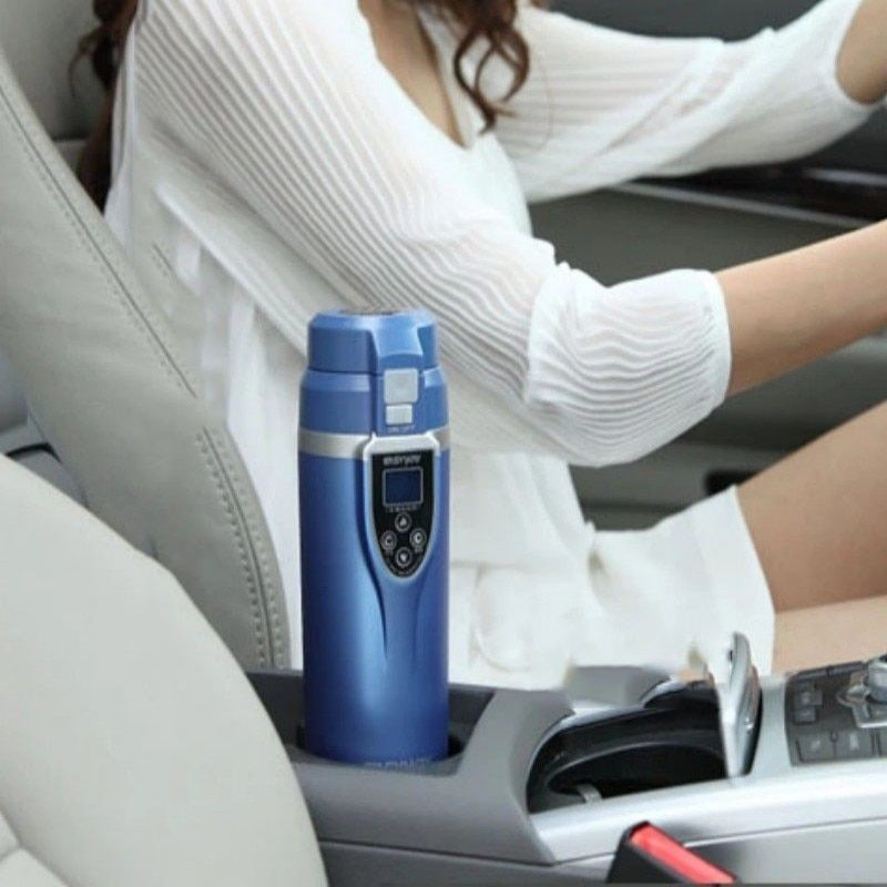 CBJ top quality 12V 24V car heater cup best gift LED 350mL ABS  Stainless Steel Car Electric heating Cup Hot Water Coffee Tea