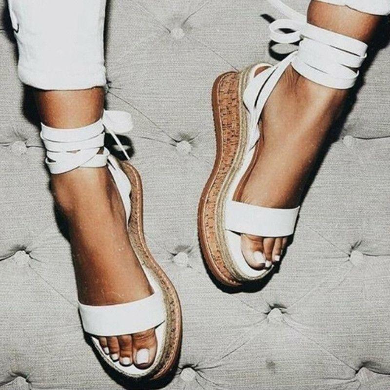 Été Blanc Espadrilles Compensées Femmes Sandales À Bout Ouvert Gladiateur Sandales Femmes décontracté à lacets Femmes Plateforme Sandales