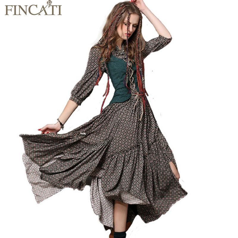 2018 Spring Summer Style Women Bohemian Dress Vintage Tunic Cotton Combo Dresses Stand Collar Three Quarter Sleeve Maxi Vestidos