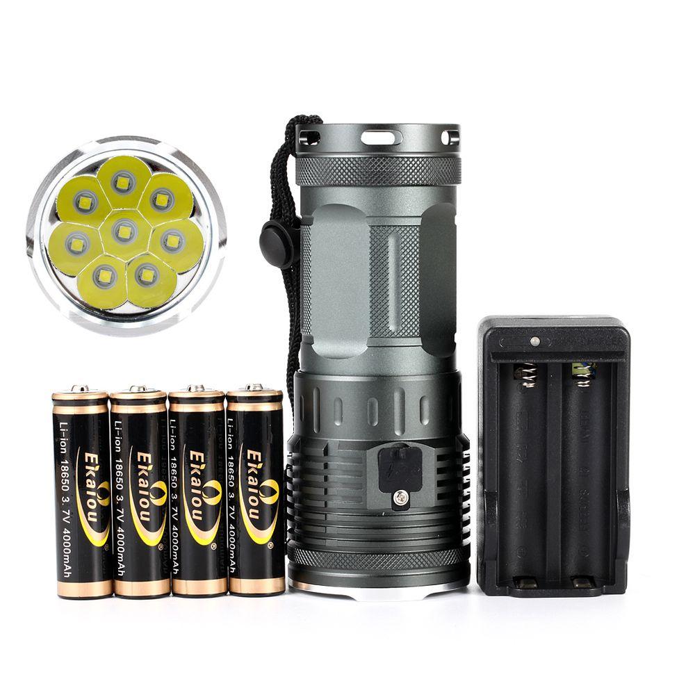 2019 nouveau puissant 8 x XML L3 20000 Lumen LED étanche lampe de poche 4x18650 batterie Camping chasse LED torche tactique