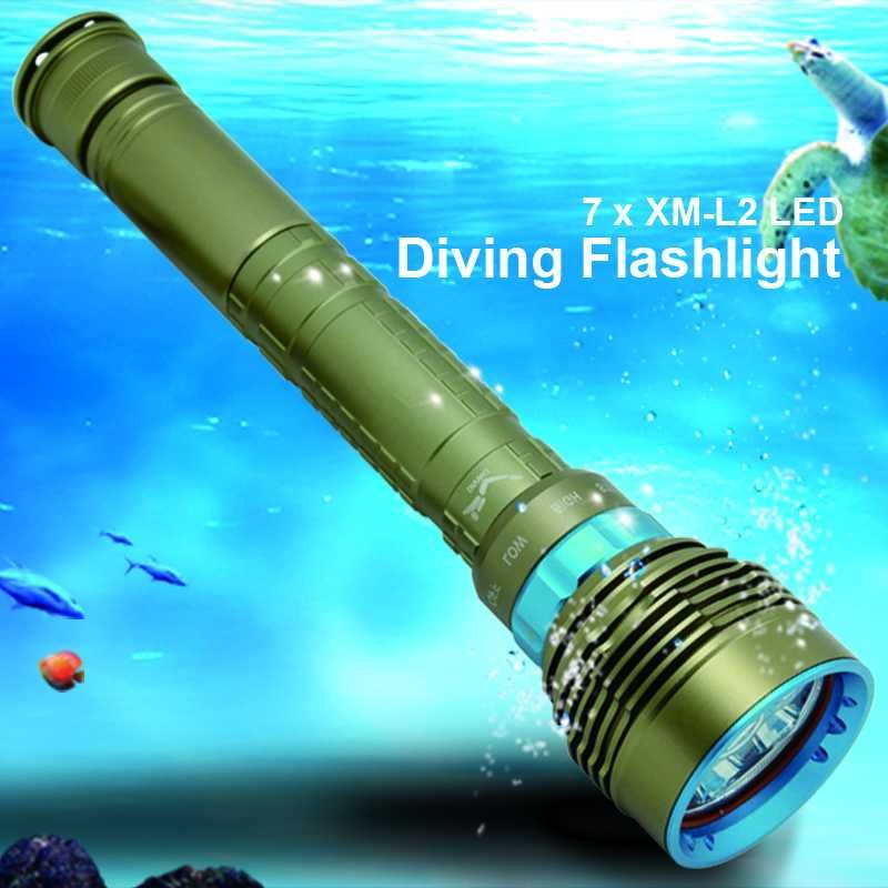 14000LM 7x XM-L2 LED Diving Flashlight High Power Dive Torch Light Underwater Professional Scuba Flashlights Lamp by 26650/18650