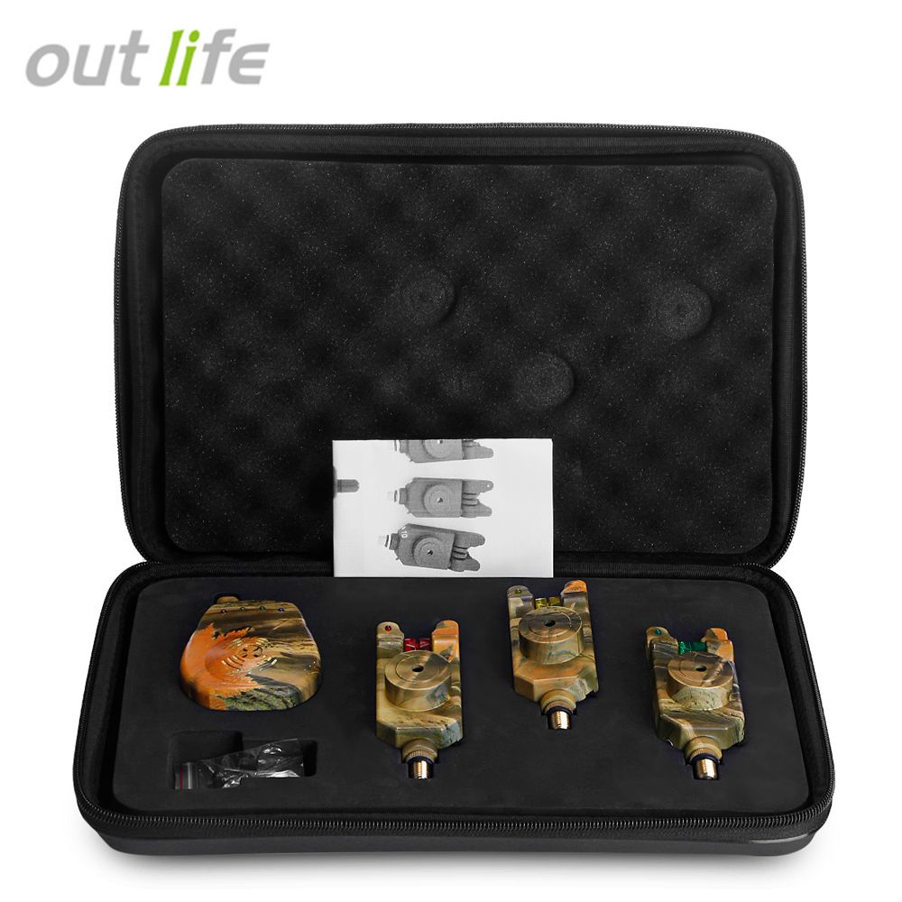 Outlife JY - 35 - 3 Wireless Camouflage Fishing Bite Alarm Set With Receiver Case