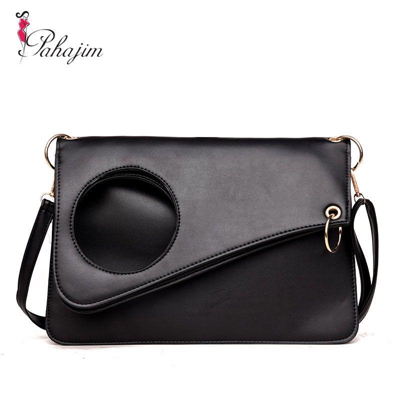 Women Leather Fashion Messenger Bag Circle Fold Cover Sling Girl Shoulder Crossbody Bag <font><b>Famous</b></font> Brand Design Envelope Bolsas
