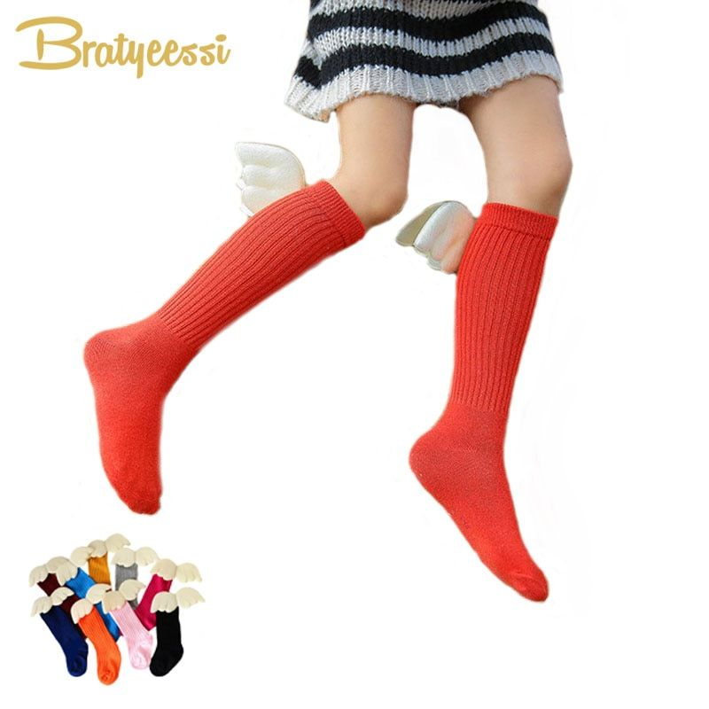 INS Hot Angle Wings Knee Socks Kids Candy Color Cotton Children Socks for Boys Girls Christmas Gift 1 Pair