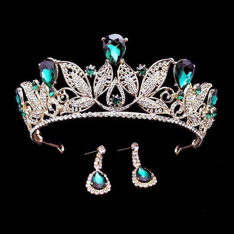 1 Set serre-tête diadème de mariée en cristal vert bandeau reine Vintage diadème Pageant Baroque strass couronnes de mariage mariée accessoires de cheveux