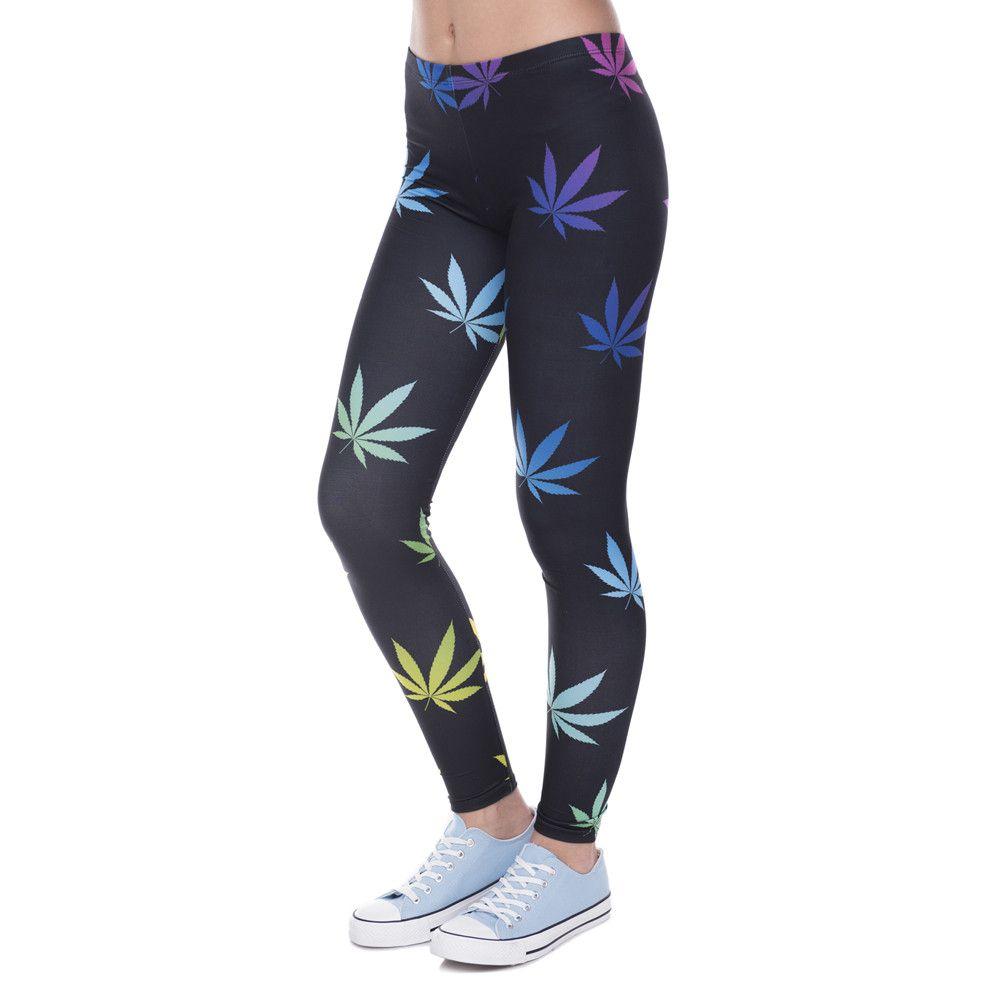 Leggings de Fitness couleur mauvaises herbes imprimé Leggins pour femmes Leggings de mode Sexy Slim Legins femmes pantalons 100% tout neuf
