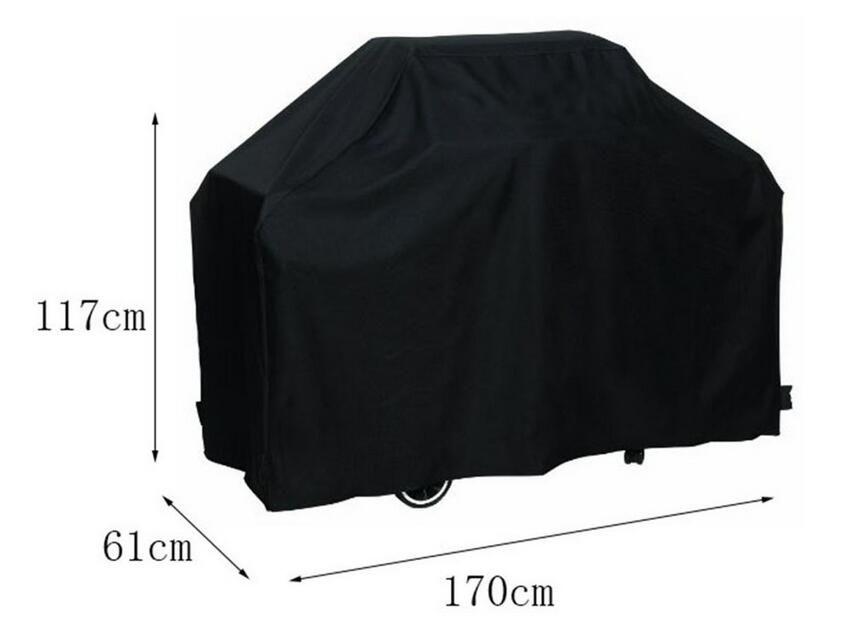 170 * 61 * 117 cm noir Bbq Cover étanche extérieure pluie Barbecue Grill Protector pour charbon de gaz électrique Barbecue Grill
