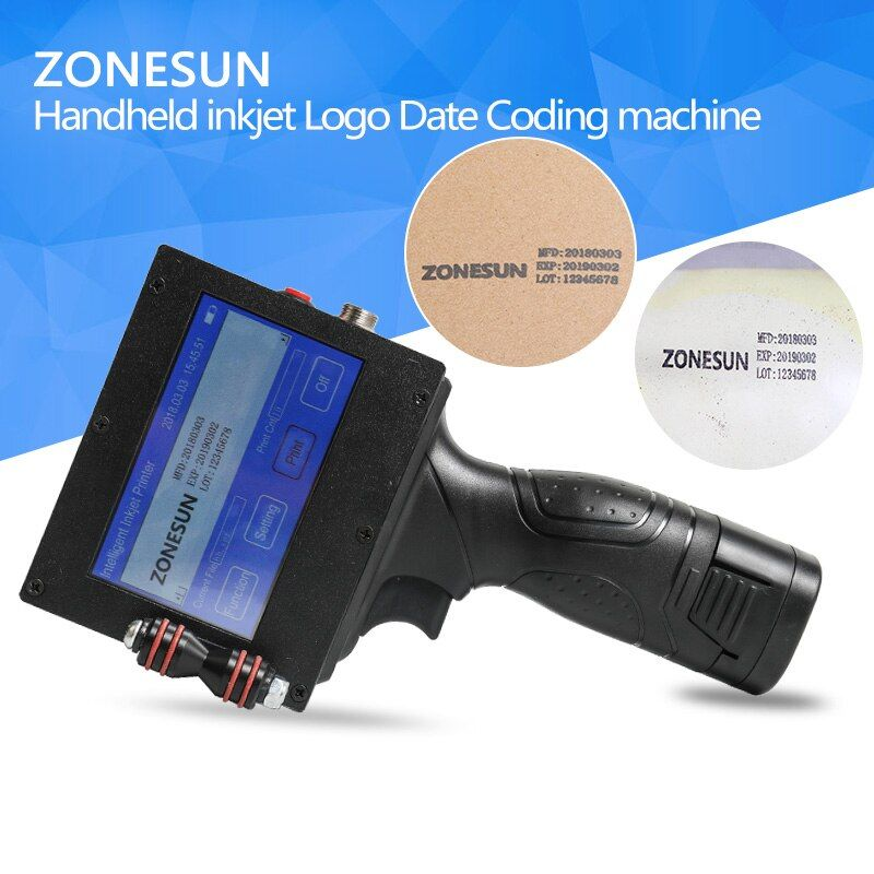 ZONESUN Handheld LightWeight Inkjet Printer Ink Date Coder Coding machine LED Screen Display For Trademark Logo Graphic